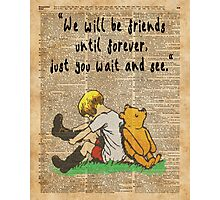 Winnie The Pooh Friendship Forever Vintage Dictionary Art Photographic Print