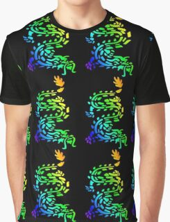 Oriental Dragon Colourful Design Graphic T-Shirt