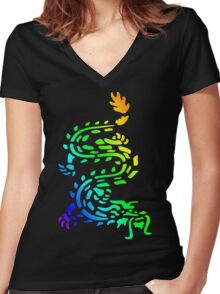 Oriental Dragon Colourful Design Women's Fitted V-Neck T-Shirt