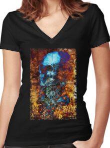 Skull and Flowers Women's Fitted V-Neck T-Shirt