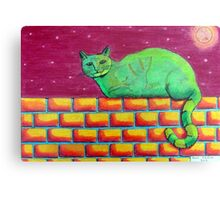 354 - GREEN CAT ON A WALL - DAVE EDWARDS - COLOURED PENCILS - 2012 Canvas Print