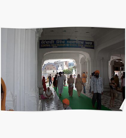 Devotees entering the Golden Temple in Amritsar Poster
