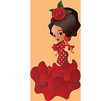 Flamenco cartoon chibi kawaii girl Photographic Print