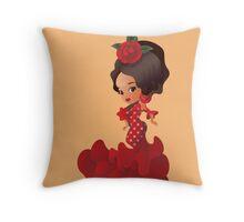 Flamenco cartoon chibi kawaii girl Throw Pillow