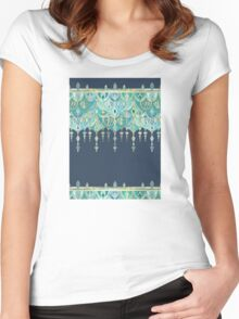 Art Deco Double Drop in Blues and Greens Women's Fitted Scoop T-Shirt