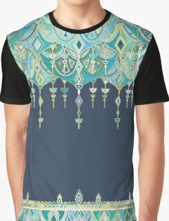Art Deco Double Drop in Blues and Greens Graphic T-Shirt