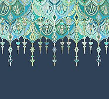 Art Deco Double Drop in Blues and Greens by micklyn