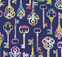 Rainbow Skeleton Keys Pattern by Lindsey Rounbehler