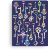 Rainbow Skeleton Keys Pattern Canvas Print