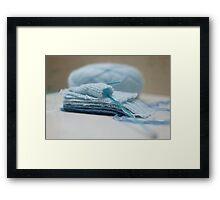 Baby Blue knitting Framed Print