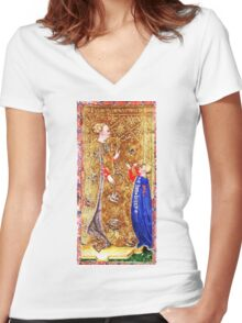 Medieval Queen painting Women's Fitted V-Neck T-Shirt