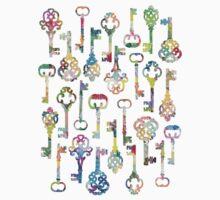 Rainbow Skeleton Keys Pattern Baby Tee