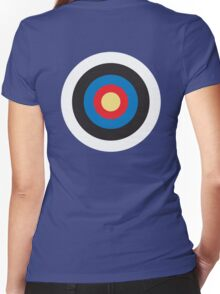 Bulls Eye, Right on Target, Roundel, Archery, Mod, Hit, on Blue Women's Fitted V-Neck T-Shirt