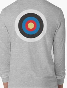 Bulls Eye, Right on Target, Roundel, Archery, Mod, Hit, on Blue Long Sleeve T-Shirt