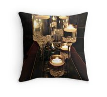 Stepped Glass Containers with Candles Throw Pillow