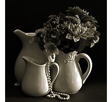 Pitchers and Flowers in Monotone Photographic Print