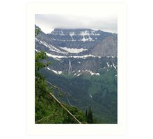 HEAVEN PEAK AND BIRD WOMAN FALLS - GLACIER NATIONAL PARK Art Print