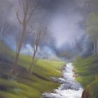 Rushing Stream from original country landscape oil painting  by HomeTimeArt