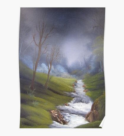 Rushing Stream from original country landscape oil painting  Poster