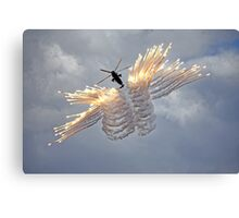 Westland Sea King HC.4 firing anti-missile decoy flares Canvas Print