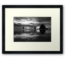 Oregon Sunset In Black and White Framed Print