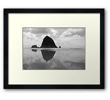 Haystack Sunset in b & w Framed Print