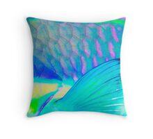 Fin I - Close up detail of Parrot Fish Throw Pillow