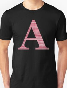 Letter A Red Watercolor Stripes Initial Monogram Unisex T-Shirt