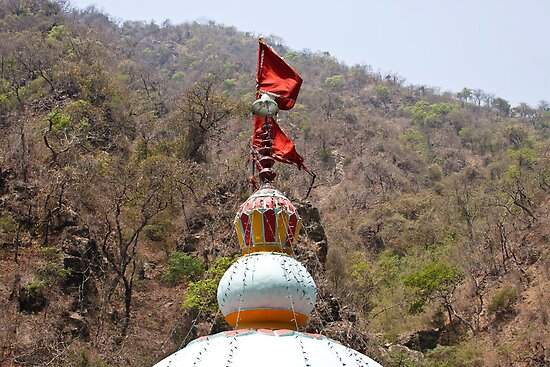 Saffron flag on top of a temple in Uttarakhand by ashishagarwal74