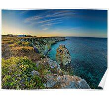 Coastline at sunset  Poster