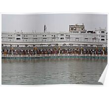 Crowd of devotees inside the Golden Temple Poster