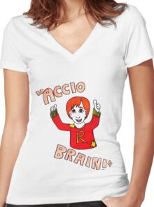 Accio Brain! -Ron Weasley Women's Fitted V-Neck T-Shirt