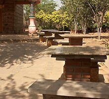 Benches and trees inside the Garden of 5 Senses by ashishagarwal74