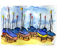 Boats at Looe Harbour Poster