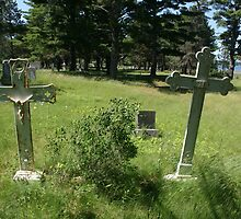 two crosses marking the graves by wolf6249107