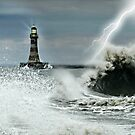 Roker Pier Sunderland - A Storm is Brewing by Morag Bates