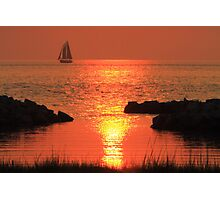 Red Sunset Sail Photographic Print