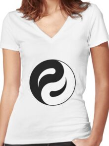 yin yang in process Women's Fitted V-Neck T-Shirt