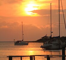 Ocracoke Island Harbor Sunset by Roupen  Baker
