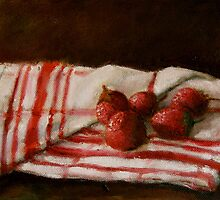 strawberries on a tea towel by Jeremy Wallace