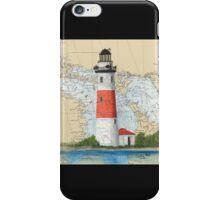Middle Island Lighthouse MI Nautical Chart Peek iPhone Case/Skin