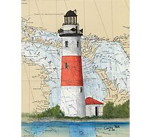 Middle Island Lighthouse MI Nautical Chart Peek Photographic Print