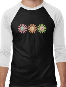 Cute, pretty retro girl flowers Men's Baseball ¾ T-Shirt