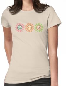 Cute, pretty retro girl flowers Womens Fitted T-Shirt