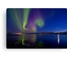 Aurora Borealis at Sortland strait Canvas Print