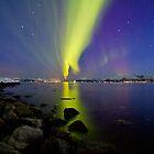 Aurora Borealis at the beach II by Frank Olsen