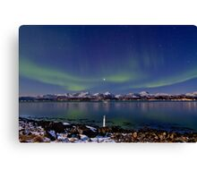 Auroras on the rocky beach II Canvas Print