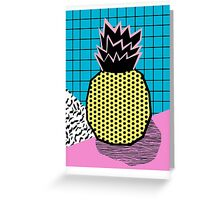 Grindage - pineapple fruit tropical pattern memphis style art print bright neon 1980 1980's 80's 80s Greeting Card