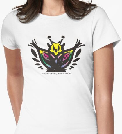 Wise mystical butterfly steals brains Womens Fitted T-Shirt