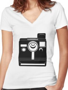Retro Camera. Women's Fitted V-Neck T-Shirt
